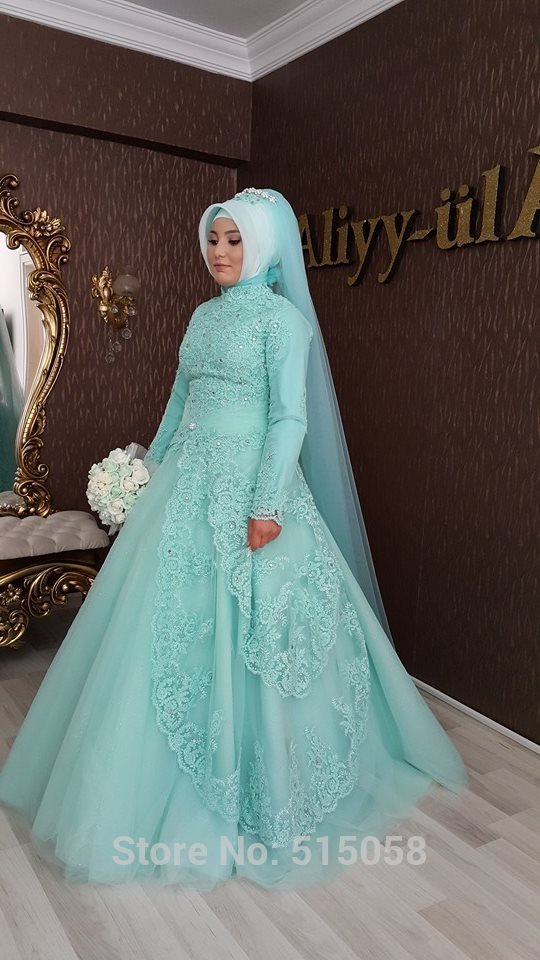 Wedding Dresses Turkey 2017 Mint Green Lace Long Sleeves Muslim ...