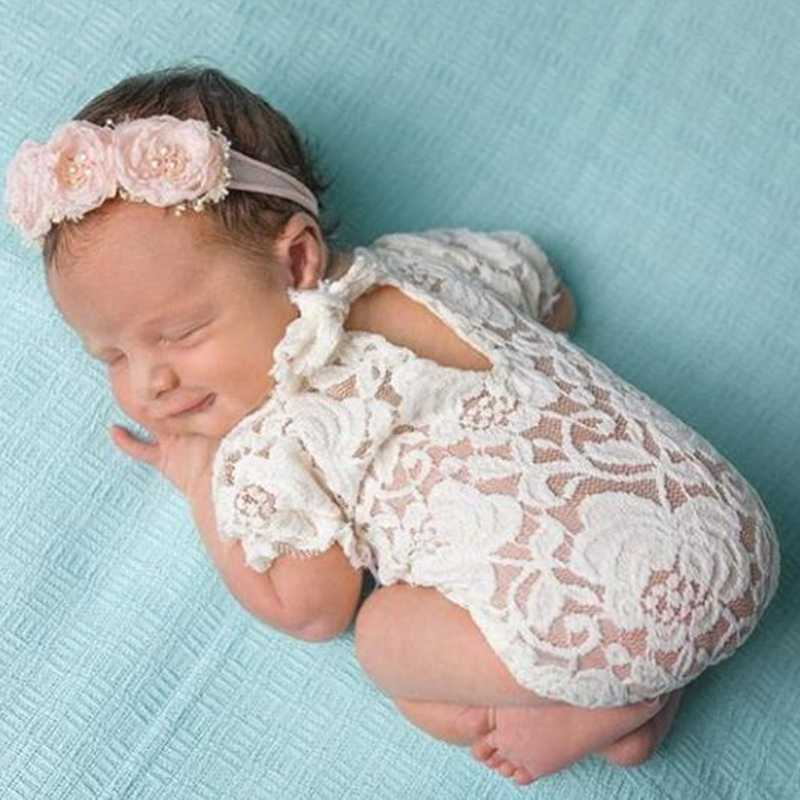 Baby Photography Bodysuits Props Lace Costume Newborn Baby Bodysuits Headband Infant Outfit
