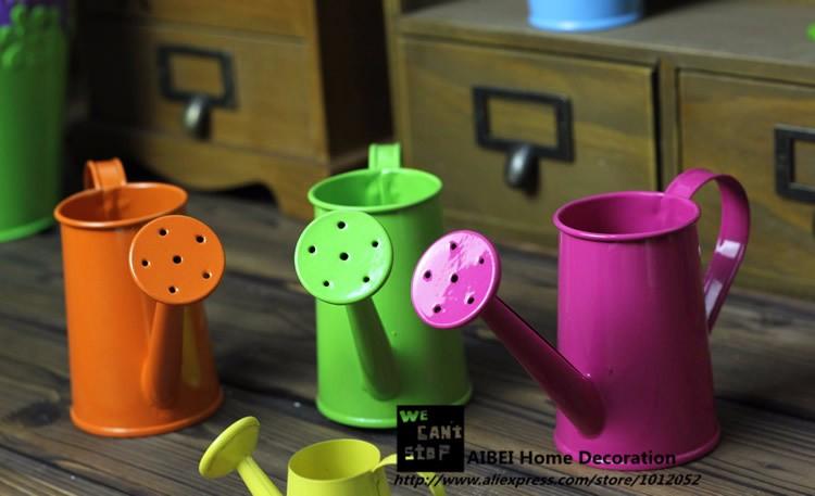 5 Stücke Pastoralen Stil Bunte Metall Zinn Blumentopf Mini Bonsai