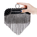 Rhinestones Tassel Women Evening Bags Beaded Wedding Small Purse Handbags Silver/Gold/Black Diamonds Evening Bag