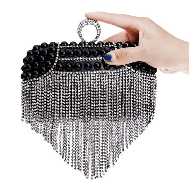 Rhinestones Tassel Women Evening Bags Beaded Wedding Small Purse Handbags Silver/Gold/Black Diamonds Evening Bag