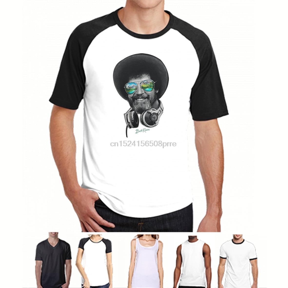 ac097044 Men Funny T Shirt Women Cool tshirt DJ Bob Ross Headphone Shades T-Shirt
