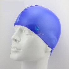 High grade silicone swimming cap Monochrome adult soft silicone swimming cap antiskid earmuffs swimming cap