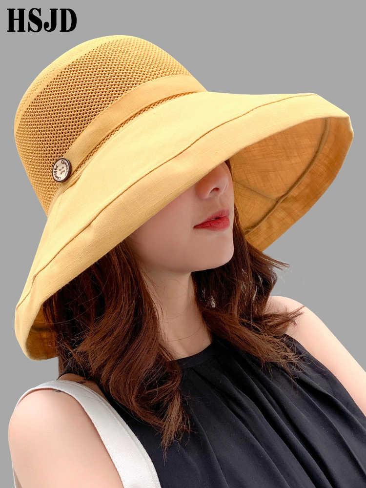 5ddae55f6fdd01 Women Summer Foldable Anti-UV Beach hat Solid Color Net Mesh Large Wide  Brim Sun