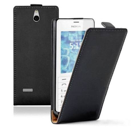 Ultra Slim BLACK Leather Vertical case cover for Nokia 515 / Dual SIM