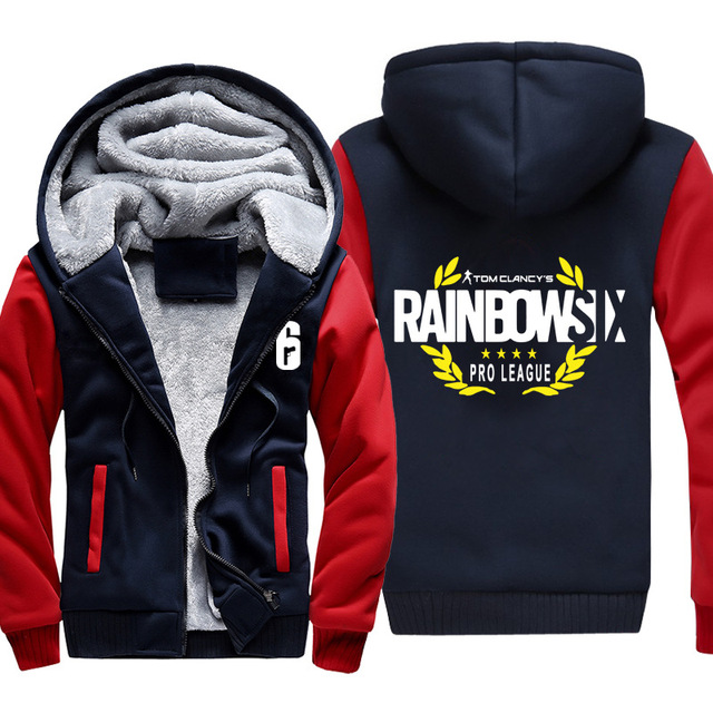 High-quality Winter Rainbow Six Siege Hoodie Men's Winter Casual Super Warm Thicken Fleece Zip Up Sweatshirt Coat plus size 5XL 1
