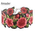 2017 New Handmade Embroidered Floral Statement Choker Necklace Sexy Boho Rose Flower Tattoo Chokers Chocker Maxi Necklaces