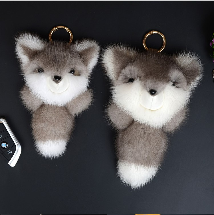 Cute Genuine Real Mink Fur Plush Fluffy Furry Fox Keychain Pompom Animal Key Chain Women Bag Charm Bag Accessories Pendant