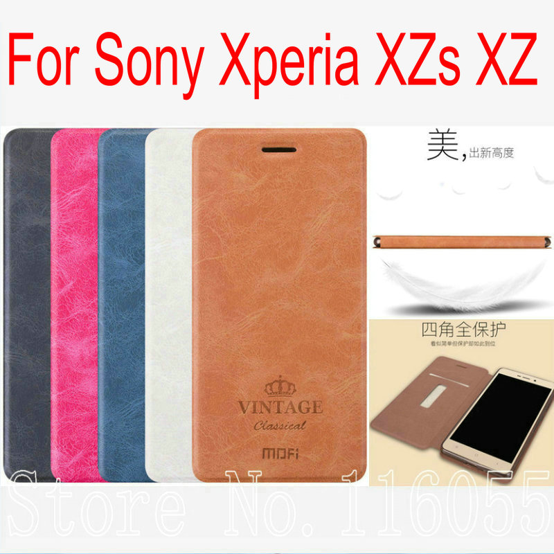Newest Ultra Thin Original Mofi Luxury PU Flip Leather Case For Sony Xperia XZs XZ F8331 Dual F8332 Stand and Card Holder KT01