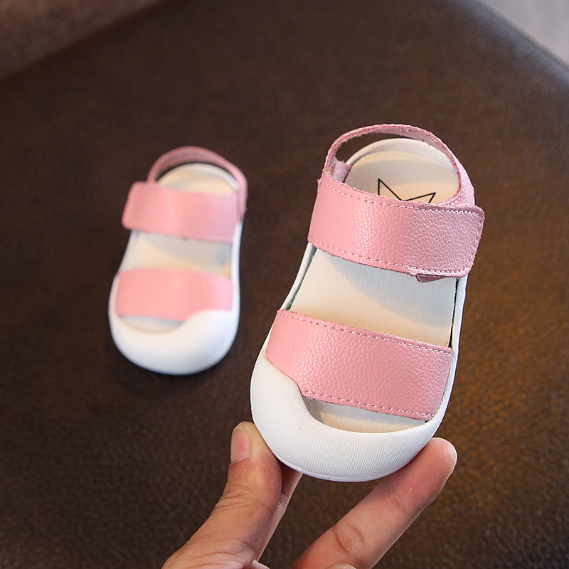 2018 New 1 to 3 Years Genuine Leather Toe Wrapping Baby Girl Sandals Solid Casual Toddle Soft Boy Shoe Non-slip TPR Sole