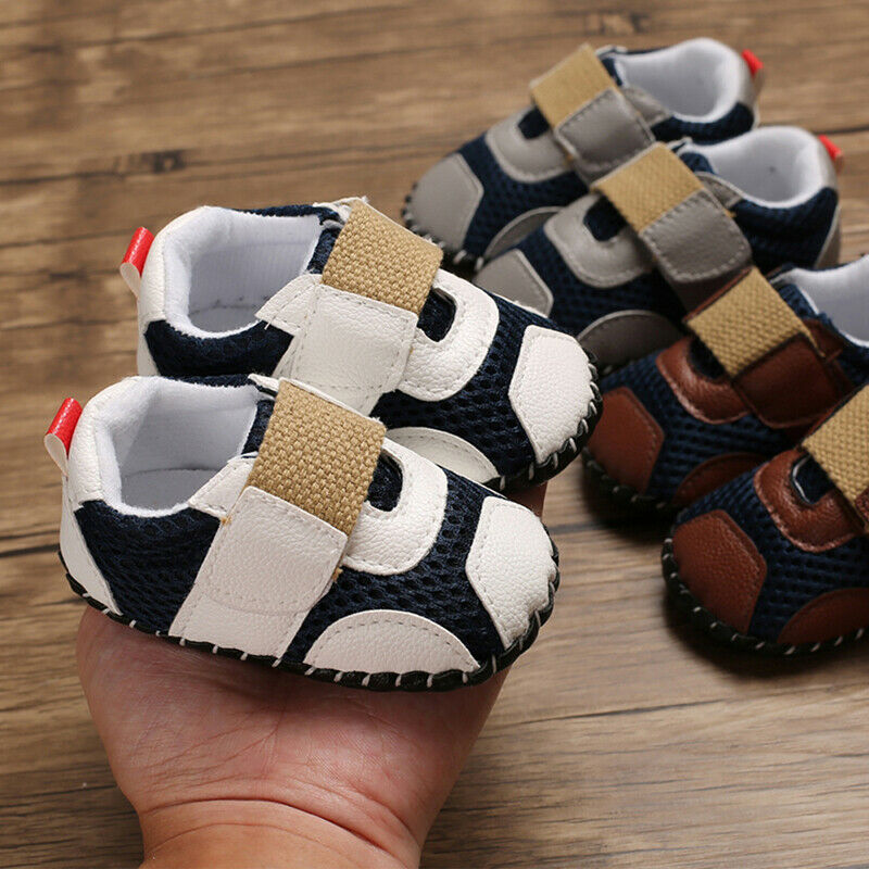 0-18M Baby Boy Girl Anti-slip Soft Sole Crib Shoes Cute Toddler Trainers Newborn PU Leather Sneakers Prewalkers