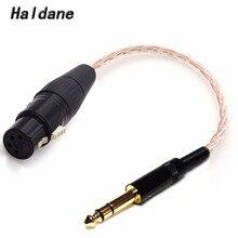 Frete grátis haldane 6.35mm 1/4 macho para 4 pinos xlr fêmea equilibrada conectar trs adaptador de áudio cabo fone de ouvido 10cm