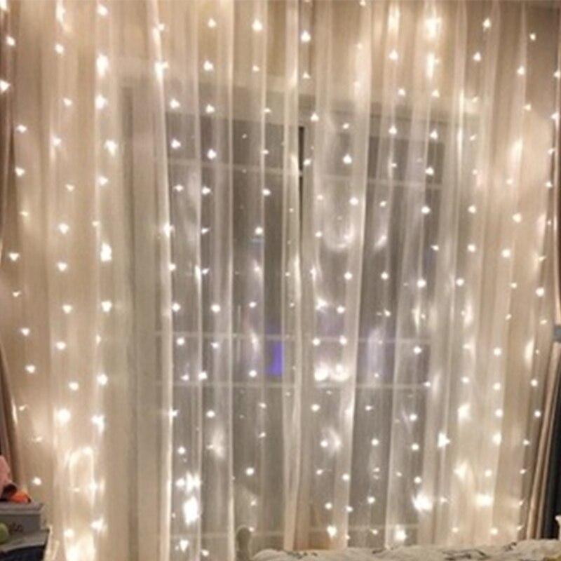 3x3M Curtain LED String Light Fairy Icicle LED Garland EU Plug String Fairy LED Lights For Wedding/Party/Patio Christmas Decor