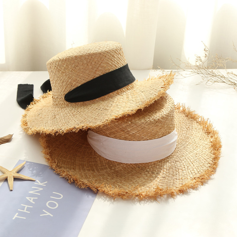 Luna&Dolphin Women Summer Beach Raffia Black White Ribbon Hat Bow Raffia Hat Temperament Flat Cap Straw Hats Women's Seaside Hat