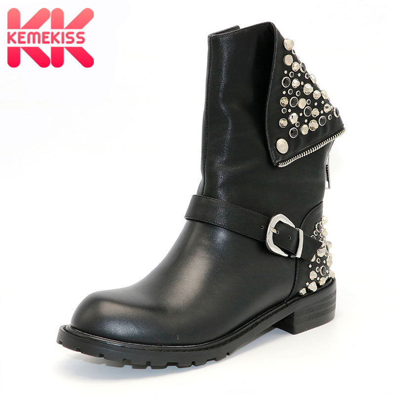 KemeKiss Real Genuine Leather Boots Rivet Square Heels Autumn Winter Knee Boots Sexy Martin Fur Snow Boots Shoes Woman Size34-39 rizabina genuine leather boots rivet square heels autumn winter ankle boots sexy martin fur snow boots shoes woman size34 39