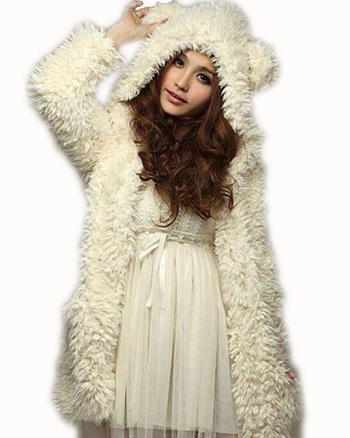 Женщины Sweatershirt Толстовки Пальто 2017 Новый Зимний Теплый Флис С Капюшоном Мода Медведя Уши Капюшоном Пальто Верхняя Одежда Chaquetas Mujer