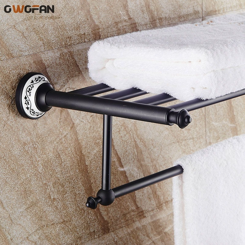 2018 New Bathroom Shelves Black Towel Racks Classic Wall Mount Bathroom Accessories Ceramic Home Decorations Wholesale SY-089R sweet years sy 6130l 24