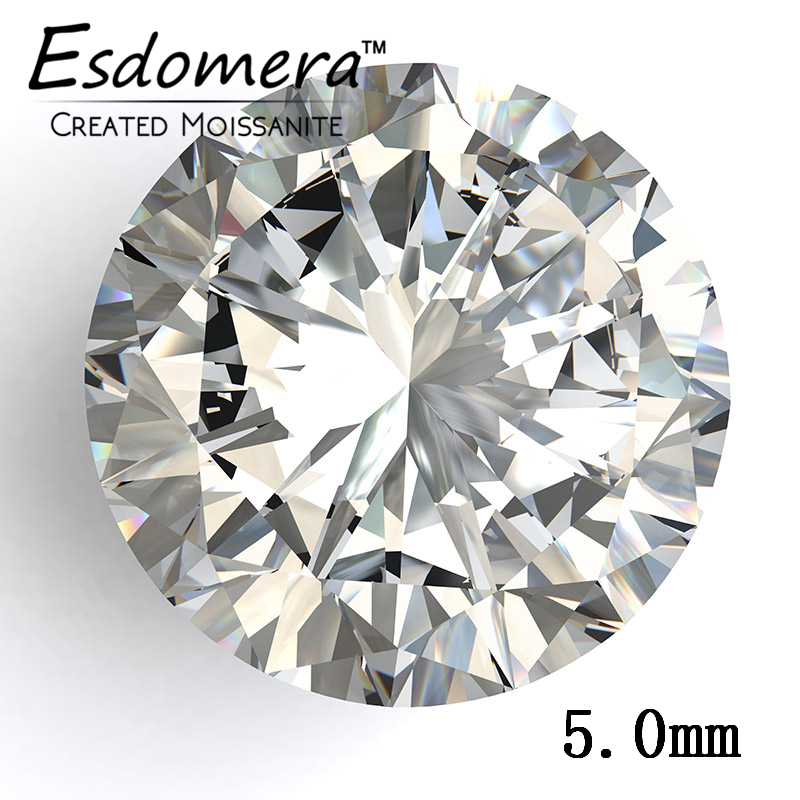 Color F Esdomera Moissanites 0 5 Carat 5 0mm Round Cut Loose Gemstone Test as Real