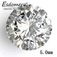 Color F Esdomera Moissanites 0.5 Carat 5.0mm Corte Redondo Piedra Preciosa Floja de Prueba como Verdadera Moissanites Laboratorio Crecido Diamante Joyería