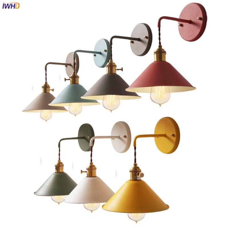 IWHD Colorful Modern Nordic Wall Lamp Beisde Bathroom Mirror Bedroom Light LED Edison Vintage Wall Lights Fixtures WandlampIWHD Colorful Modern Nordic Wall Lamp Beisde Bathroom Mirror Bedroom Light LED Edison Vintage Wall Lights Fixtures Wandlamp