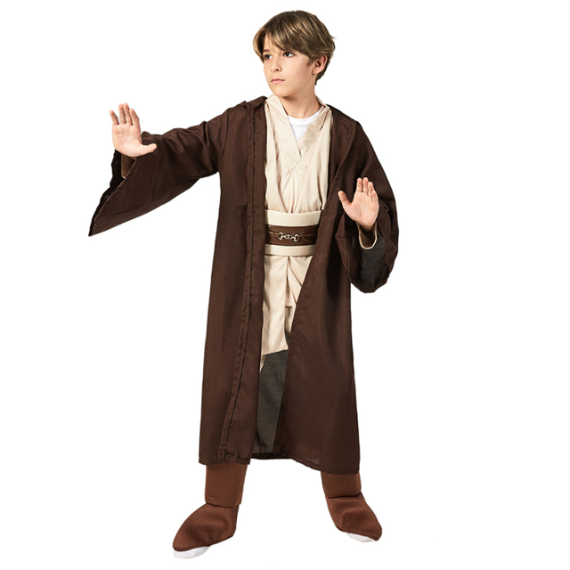 Boys Deluxe Jedi Knight Movie Character Cosplay Party Clothing Kids Fancy Halloween Purim Carnival Costumes