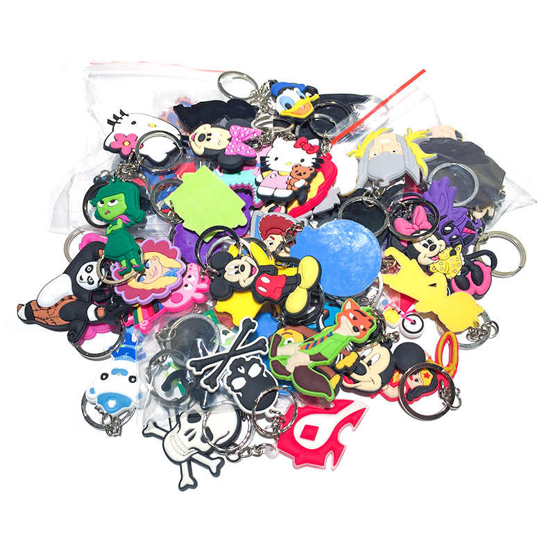 100pcs/lot Mix Style Random PVC Cartoon Key Chain Key Ring Children Anime Figure Keychain Key Holder Kid Toy Pendant Trinket
