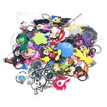 100pcs/lot Mix Style Random PVC Cartoon Key Chain Ring Children Anime Figure Keychain Holder Kid Toy Pendant Trinket