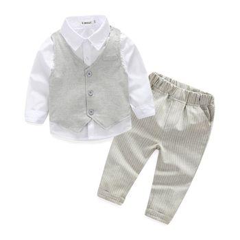 Baby boy 3pcs Shirt + Vest + Pants Boys Wedding Clothes Gentleman 1