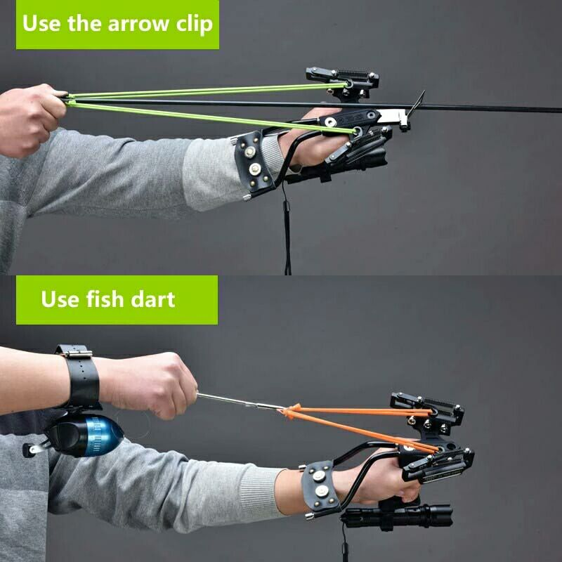 Laser Slingshot Outdoor Hunting Fishing Slingshot Catapult Compound Bow Can Shooting Arrows Steel Balls Fishing Darts