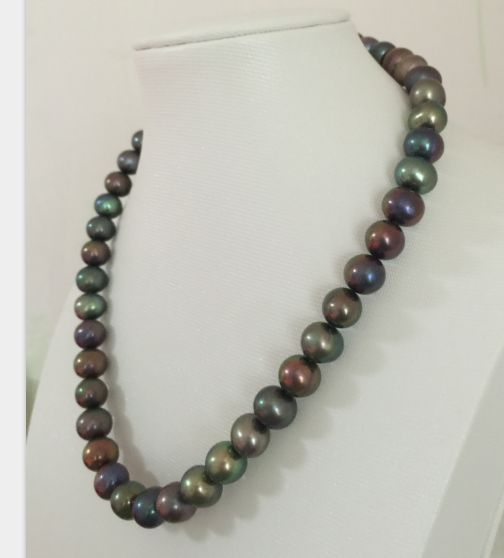 9-10mm tahitian black green multicolor pearl necklace 18inch 925 silver hot sale new style genuine 9 10mm tahitian black pearl necklace 18inch