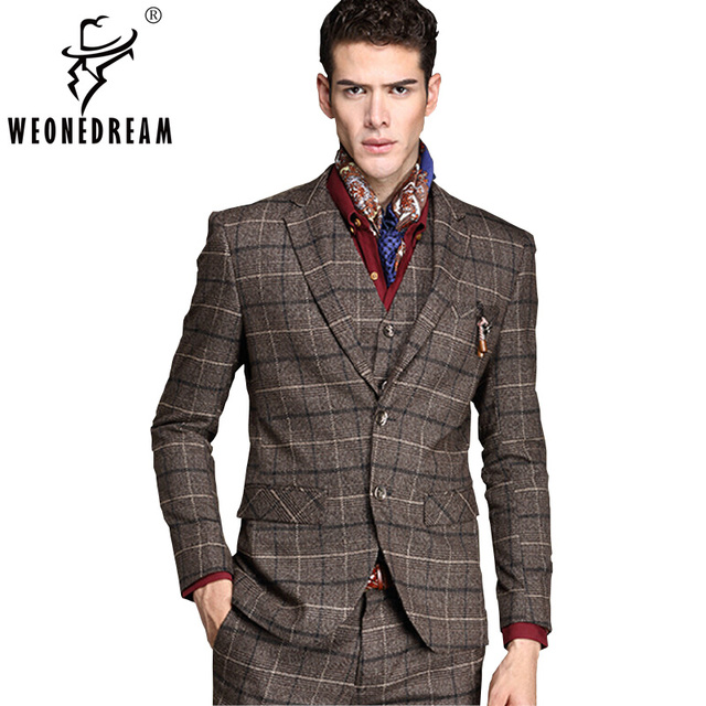 Vestes + Pantalon + Gilets Hommes de Café Costumes Deux Boutons Marque De  Mode D  55aab40146e