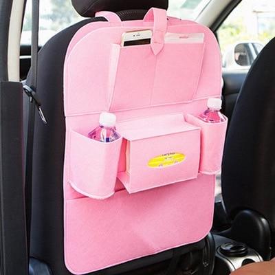 Новинка, Универсальный 1 шт. автомобильный защитный чехол на заднюю часть сиденья автомобиля, детский коврик, сумка для хранения, аксессуары для автомобиля - Цвет: pink