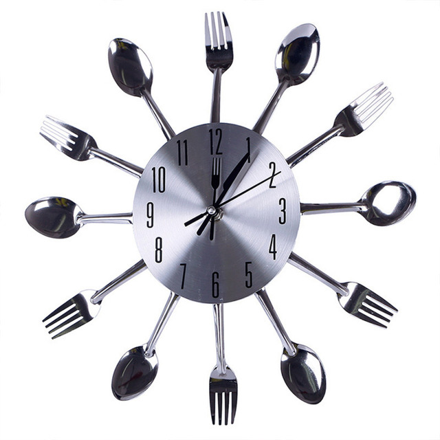 US $12.33 |Design moderno Orologi Da Parete Del Nastro Posate Utensili Da  Cucina Orologio Da Parete Cucchiaio Forchetta Orologio Complementi Arredo  ...