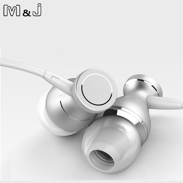 M&J J9 Metal Magnetic Sport Running Earphone In-Ear Earbuds Clarity Stereo Sound With Mic Headset For Mobile Phone MP3 MP4 PC