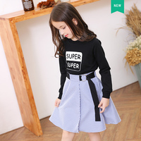Kids Girls Clothing Set 6-15Y Long Sleeve T shirts + Striped Skirts Cotton Teen Girls Suits Set Fashion Children Girl Clothes