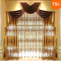 Dubai Ancient times for king super! Luxury magnetic drape for living room gold embroid door curtain hotel drapery window W 2.5 M