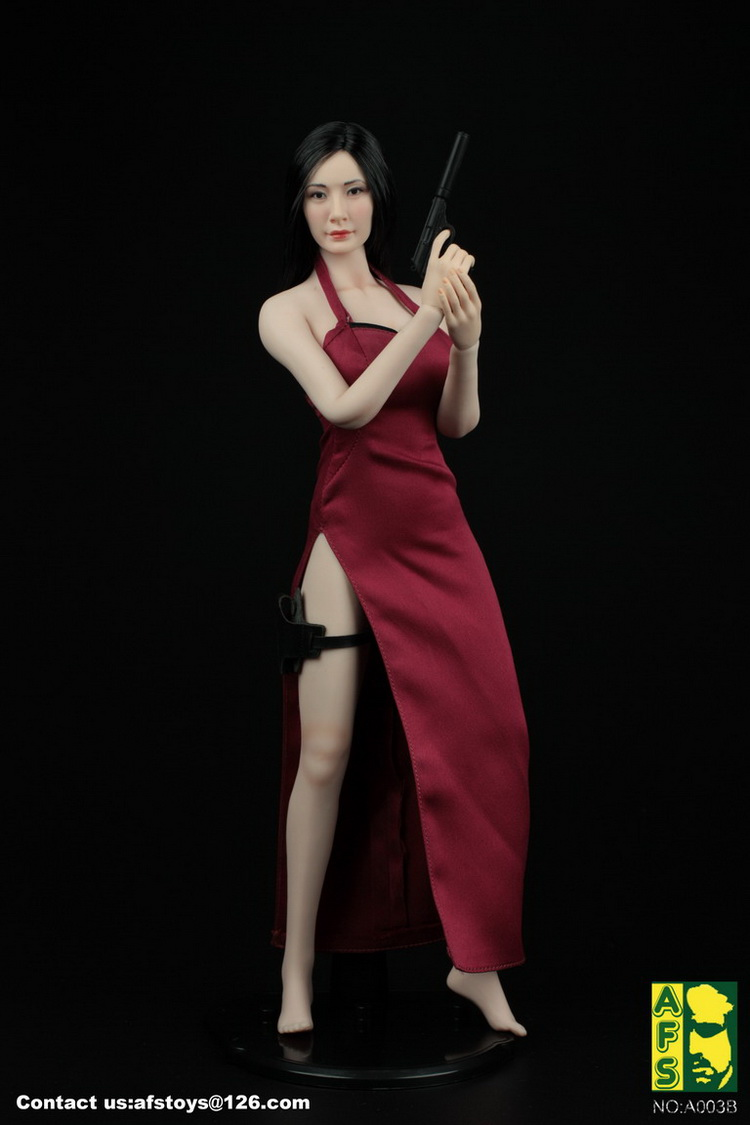 1/6 Scale  A003R Red Female Killer Sexy Dress Clothing for assembled resident Evil Ida wang ADA Figure Accessory 1 6 scale resident evil 6 leon scott kennedy full set action figure for collections