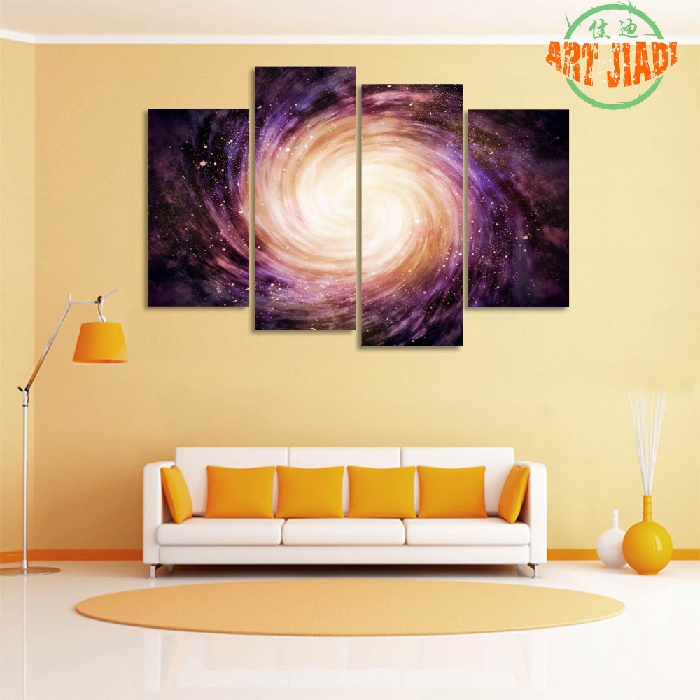 Distant Colorful Spiral Galaxy 4 Pieces/sets Canvas Art HD Canvas ...