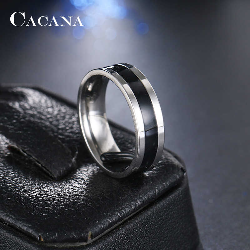 CACANA  Stainless Steel Rings For Women  Polishing Cool Black Fashion Jewelry Wholesale NO.R176
