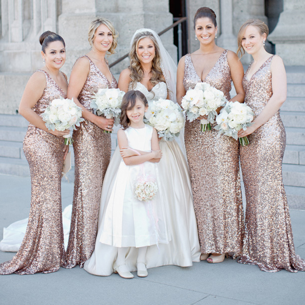 Compare prices on bridesmaids sparkling dress online shoppingbuy sexy design gold sequined v neck sparkling bridesmaid dresses floor length girl prom party gowns vestido ombrellifo Images
