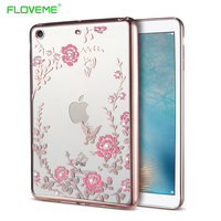 FLOVEME Diamond Floral Tablet Cases For IPad Mini 1 2 3 Cover Flowers Slim Silicone Shell