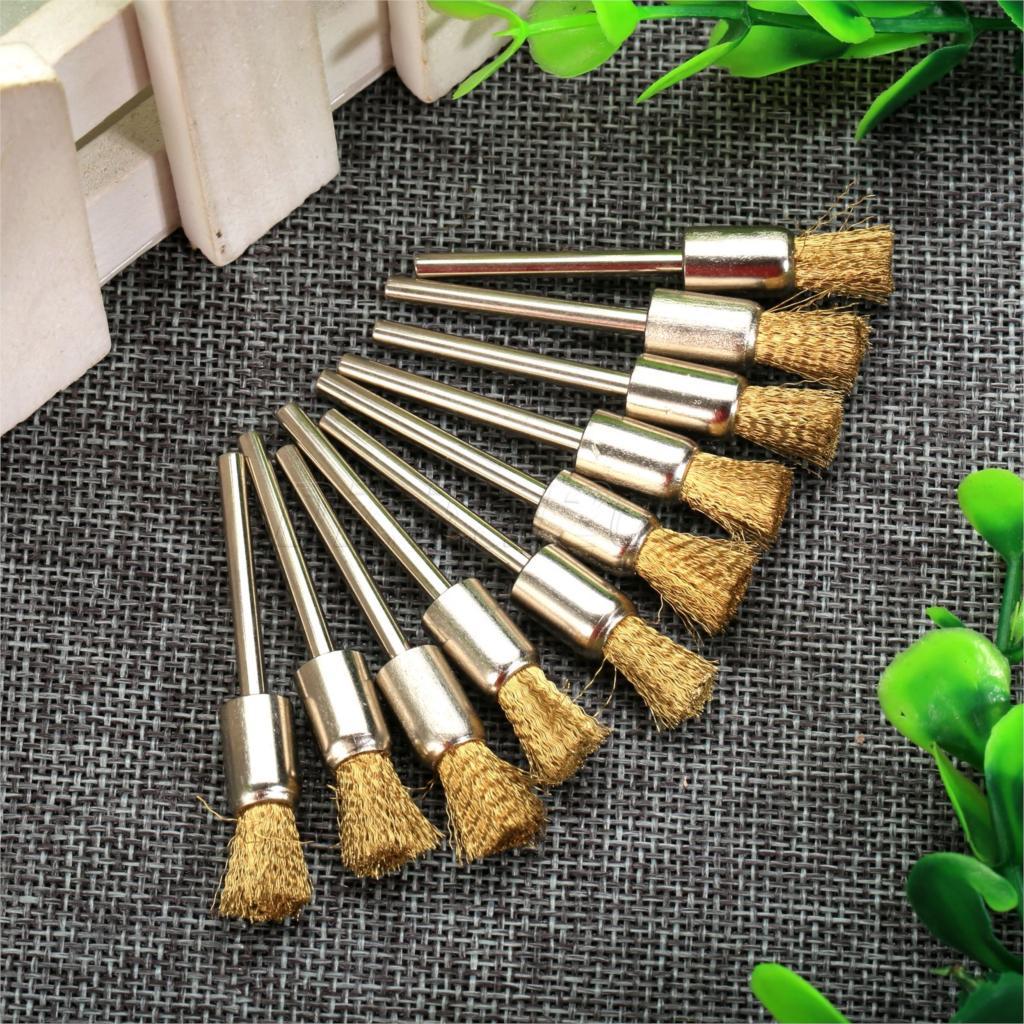 "10pcs 8mm Pen Shape Polishing Brass Wire Wheel Brushes 1//8/"" Shank f// Rotary Tool"