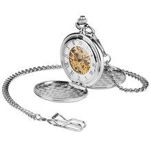 Funda de plata Lisa para hombre y mujer, Número romano Vintage, cuerda a mano, Reloj de bolsillo mecánico, estuche de cazador abierto doble, relojes fob, regalo