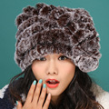 Трикотажные кролика hat толстый шерстяной подкладкой зима женщины кошка прекрасный снежными шапками бомбардировщиков шляпы
