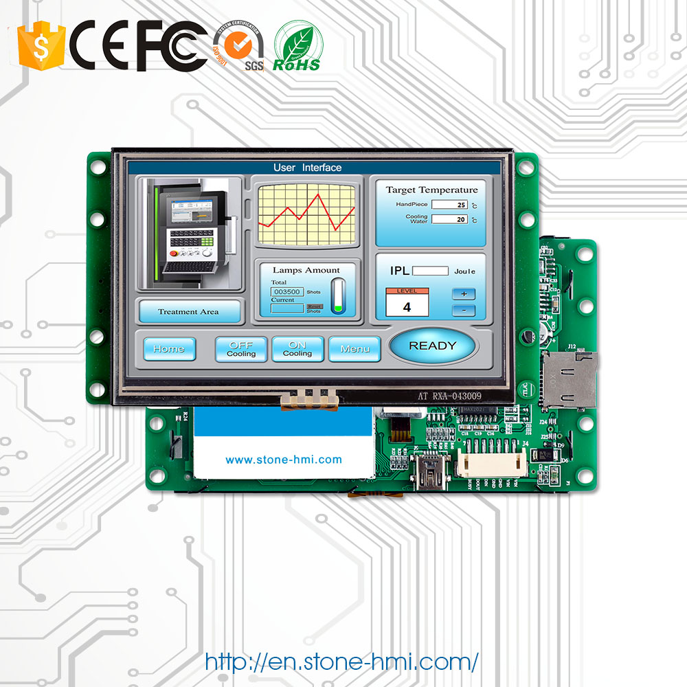 Touch Screen LCD 4.3 Inch Display Module With TTL Controller + Program + Serial Interface Support Any Microcontroller