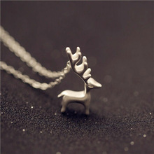 Cute Elk 925 Sterling Silver Brief Necklaces & Pendants For Ladies Forest Fashion Woman Present Sterling-silver-jewelry
