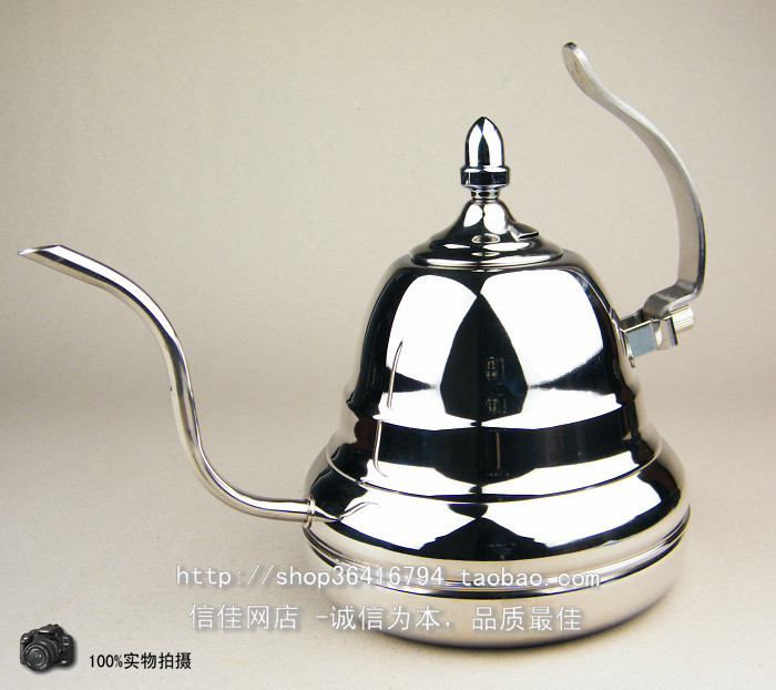 FeiC 1pcs 1.0L Silver Tea and Coffee Drip Kettle pot steel steel gooseneck spout Kettle agua caliente para Barista D1
