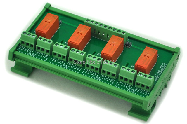 DIN Rail Mount Passive Bistable/Latching 4 DPDT 8A Power Relay Module, 24V Version