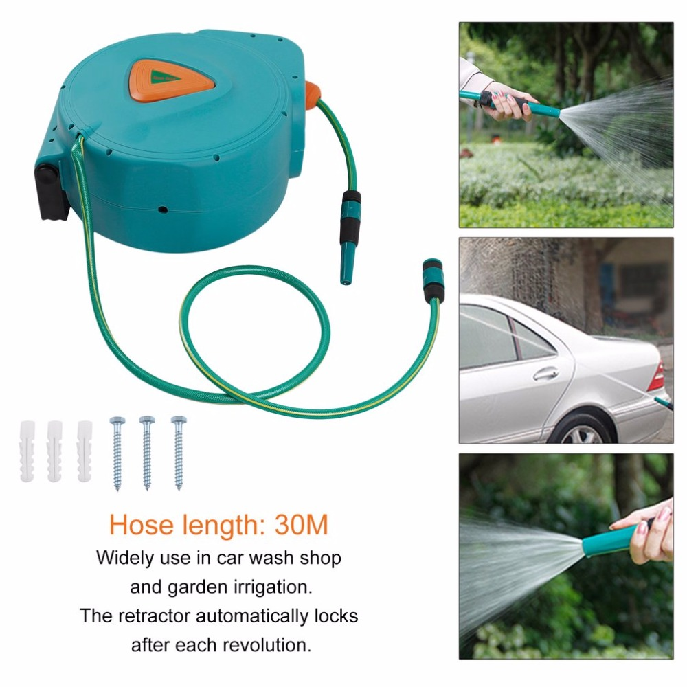 New 30M Air Hose Reel Drum Water Drum Garden Hose Powerful Auto Rewind Automatic Hose Reel High Performance Rolling Machine garden hose