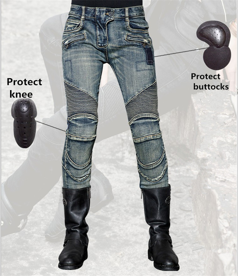 Women's Slim Straight Jeans uglyBROS Motorcycle Jeans Protective Motorcycle Trousers Motor Pants Size: 25 26 27 2017 new jeans women spring pants high waist thin slim elastic waist pencil pants fashion denim trousers 3 color plus size